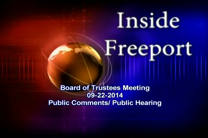 Board of Trustees Meeting 9-22-2014 Public Comment