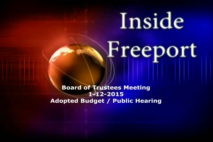 Board of Trustees Meeting 1-12-2015 Budget